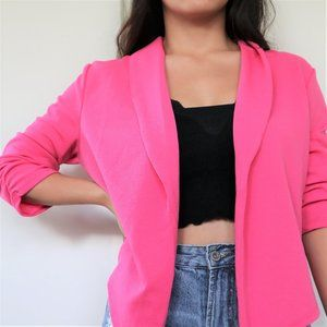 Brand New! Hot Pink Draped Front Blazer